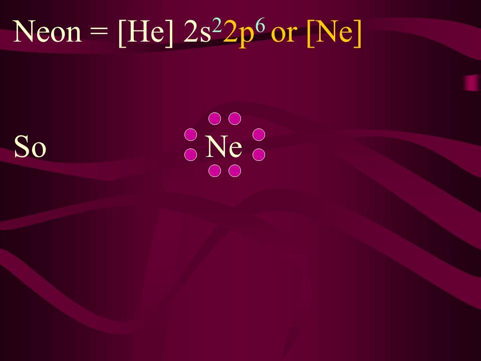 Neon = [He] 2s22p6 or [Ne] So Ne